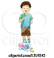 Clipart Of A Boy Admitting To Breaking A Vase Royalty Free Vector Illustration