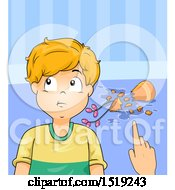 Clipart Of A Boy Denying Breaking A Vase Royalty Free Vector Illustration by BNP Design Studio