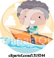 Clipart Of A Boy Traveling By Boat Royalty Free Vector Illustration by BNP Design Studio
