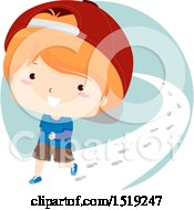 Clipart Of A Boy Walking On A Path Royalty Free Vector Illustration by BNP Design Studio
