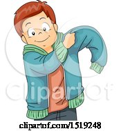 Clipart Of A Boy Putting On A Jacket Royalty Free Vector Illustration by BNP Design Studio