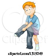 Clipart Of A Boy Dressing And Putting On Pants Royalty Free Vector Illustration by BNP Design Studio