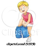 Clipart Of A Boy Dressing And Putting On Shorts Royalty Free Vector Illustration