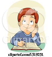 Clipart Of A Boy Thinking And Writing Royalty Free Vector Illustration