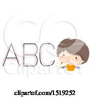 Clipart Of A Boy Learning To Write Capital Letters Royalty Free Vector Illustration