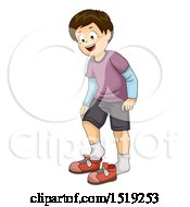 Clipart Of A Boy Taking Off Or Putting On Shoes Royalty Free Vector Illustration by BNP Design Studio