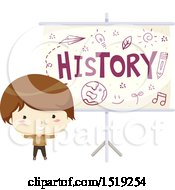 Clipart Of A Boy By A History Projector Royalty Free Vector Illustration