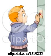 Clipart Of A Boy Ringing A Door Bell Royalty Free Vector Illustration