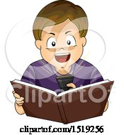 Clipart Of A Boy Shining A Flashlight In His Face And Reading A Scary Book Royalty Free Vector Illustration
