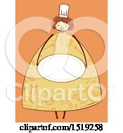 Clipart Of A Sketched Chef Girl Holding A Plate Royalty Free Vector Illustration