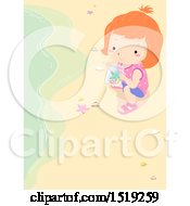 Clipart Of A Girl Picking Up Starfish On A Beach Royalty Free Vector Illustration by BNP Design Studio