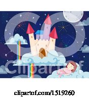 Clipart Of A Girl Sleeping On A Cloud Near A Floating Castle Royalty Free Vector Illustration
