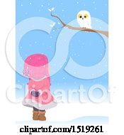 Clipart Of A Girl Looking Up At A Snowy Owl On A Winter Day Royalty Free Vector Illustration by BNP Design Studio