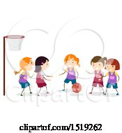 Clipart Of A Group Of Girls Playing Netball Royalty Free Vector Illustration by BNP Design Studio