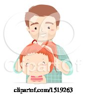 Clipart Of A Happy Father Putting His Daughters Hair Up In A Ponytail Royalty Free Vector Illustration