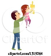 Poster, Art Print Of Father Holding Up His Daughter With A Jigsaw Puzzle Piece