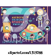 Spaceship Banner Alphabet Numbers Astronaut Steroids Moon And Stars