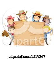Clipart Of A Group Of Children Wearing Cowboy Hats Around A Wood Sign Royalty Free Vector Illustration