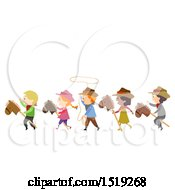 Clipart Of A Group Of Children Wearing Cowboy Costumes Royalty Free Vector Illustration by BNP Design Studio