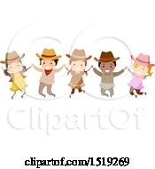 Clipart Of A Group Of Children Wearing Cowboy Hats Holding Hands And Jumping Royalty Free Vector Illustration by BNP Design Studio