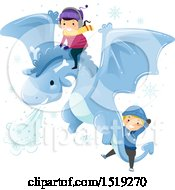 Clipart Of A Boy And Girl Riding On A Flying Winter Dragon Royalty Free Vector Illustration