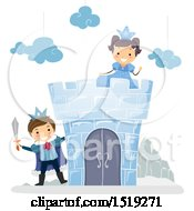 Clipart Of A Prince And Princess At An Ice Castle Royalty Free Vector Illustration