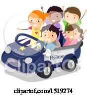 Clipart Of A Group Of Children Riding In A Police Car Royalty Free Vector Illustration