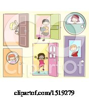 Clipart Of A Sketched Group Of Children With Doors Royalty Free Vector Illustration by BNP Design Studio