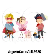 Clipart Of A Group Of Children In Costumes With Their Dogs Royalty Free Vector Illustration
