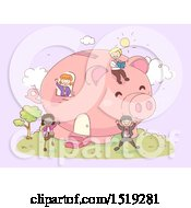 Clipart Of A Sketched Group Of Children Playing In A Piggy Bank House Royalty Free Vector Illustration
