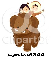 Clipart Of A Boy And Girl Riding A Baby Mammoth Royalty Free Vector Illustration