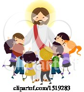 Clipart Of A Group Of Children Embracing Jesus Christ Royalty Free Vector Illustration