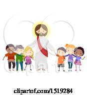 Group Of Children Standing With Jesus Christ