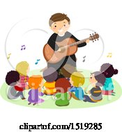 Clipart Of A Group Of Children Singing With A Priest As He Plays A Guitar Royalty Free Vector Illustration