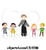Clipart Of A Happy Priest Holding Hands With Children Royalty Free Vector Illustration by BNP Design Studio