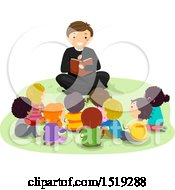 Clipart Of A Priest Reading The Bible To A Group Of Children Royalty Free Vector Illustration
