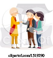 Clipart Of A Couple Shaking Hands With A Monk Royalty Free Vector Illustration