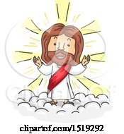 Clipart Of A Cartoon Jesus Christ Walking On Clouds Royalty Free Vector Illustration