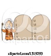 Clipart Of A Scene Of Moses Presenting The Ten Commandments Royalty Free Vector Illustration