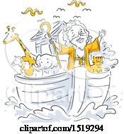 Clipart Of A Scene Of Noahs Ark Royalty Free Vector Illustration
