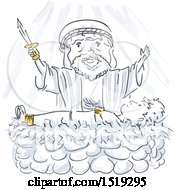 Clipart Of A Scene Of Abraham Sacrificing His Son As A Test Of Faith Royalty Free Vector Illustration