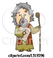 Clipart Of A Scene Of Moses Carrying The Ten Commandments Royalty Free Vector Illustration