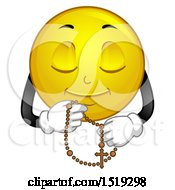 Clipart Of A Yellow Smiley Emoji Praying With A Rosary Royalty Free Vector Illustration