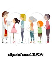 Clipart Of A Priest And Line Of People For Holy Communion Royalty Free Vector Illustration