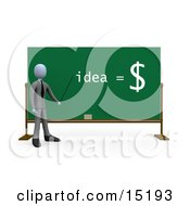 Professional Business Man Holding A Pointer Stick Up To Text Reading Idea Equals Money On A Chalkboard Clipart Illustration Image