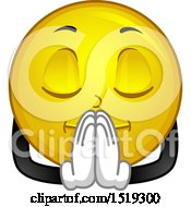 Clipart Of A Yellow Smiley Emoji Praying Royalty Free Vector Illustration by BNP Design Studio