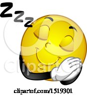 Clipart Of A Yellow Smiley Emoji Sleeping Royalty Free Vector Illustration