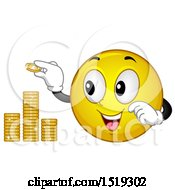 Clipart Of A Yellow Smiley Emoji Stacking Coins Royalty Free Vector Illustration