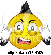 Clipart Of A Yellow Smiley Emoji Punk Rocker With A Mohawk Royalty Free Vector Illustration