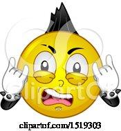 Poster, Art Print Of Yellow Smiley Emoji Punk Rocker With A Mohawk